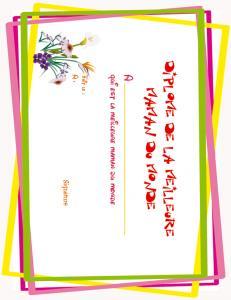 Diplôme de la meilleure maman du monde, motif cadre et bouquet