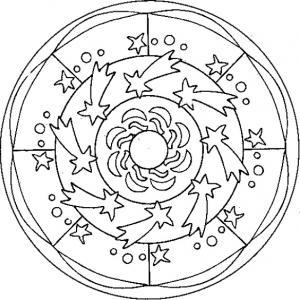 coloriage du mandala aux étoiles filantes