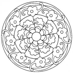 coloriage d'un mandala aux fleurs