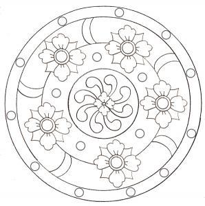 coloriage d'un mandala aux 5 grosses fleurs
