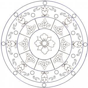 coloriage d'un mandala arabesques et feuilles