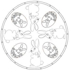 Coloriage Mandala de Pâques lapin