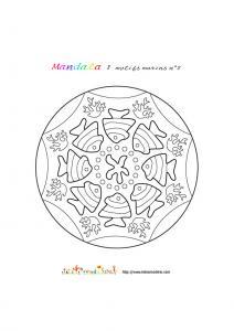 Coloriage mandala motifs marins 2