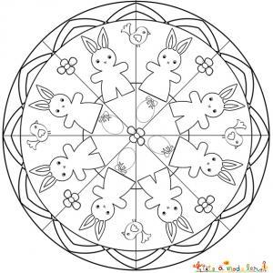 Mandala petits lapins et lapines de Pâques