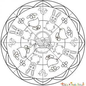 Coloriage Mandala Oeuf De Paques.Mandala De Paques Coloriage Mandala Paques Mandalas De Paques A