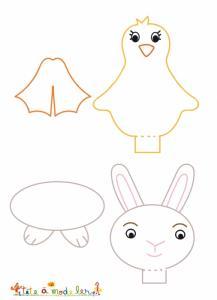 Modèles de marques places de Pâques poussin et lapin