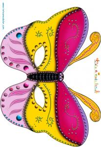 Paper toy Masque papillon jaune et rose
