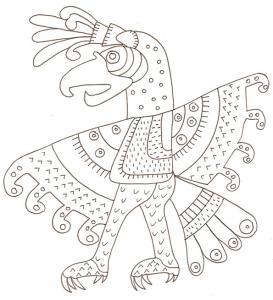 Oiseau mexicain de l'art précolombien
