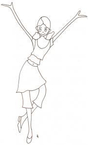 Coloriage de Mila fait un pas de danse