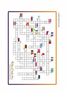 Jeu de mots Fleches: les pays de l'UE et leurs drapeaux