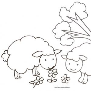 Imprimer le coloriage de deux moutons dans les fleurs. Dessin de mouton à imprimer pour le coloriage des enfants.
