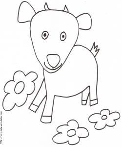 Imprimer le coloriage d'un jeune mouton mâle. Dessin de mouton à imprimer pour le coloriage des enfants.