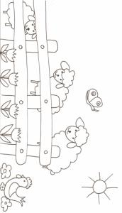 Coloriage de deux moutons dans le pré, une scène de paturage à imprimer et à colorier. Un coloriage sur les moutons à imprimer pour votre enfant.