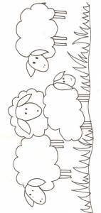 Imprimer le coloriage de mouton et agneaux