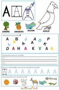 Page de lecture - écriture du A