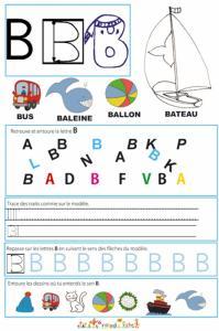 Page de lecture - écriture de la lettre B