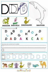 Page de lecture - écriture : lettre D de l'alphabet