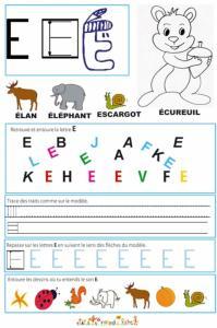 Page de lecture - écriture : la grande lettre E