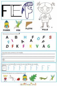 Page de lecture - écriture : la lettre F