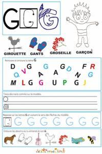Page de lecture - écriture : Grande lettre G