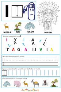 """Page de lecture - écriture : la lettre """" I """""""