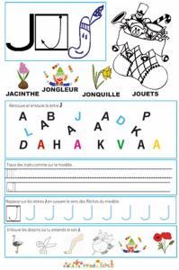 """Page de lecture - écriture : la lettre """" J """" de l'alphabet"""