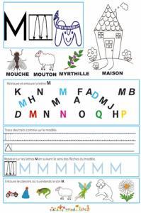 """Page de lecture - écriture : la lettre """" M """""""