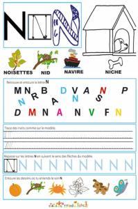 """Page de lecture - écriture : la lettre """" N """" de l'alphabet"""