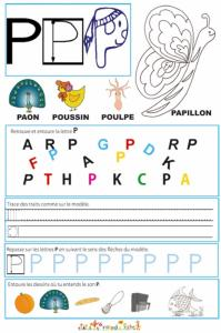 Page de lecture - écriture : la lettre P de papillon