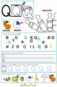 Page de lecture - écriture : la lettre Q de QUILLE