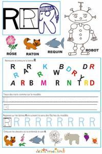 Page de lecture - écriture : la grande lettre R de robot