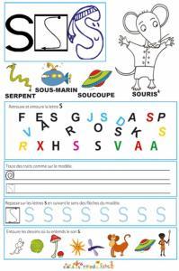 Page de lecture - écriture : la lettre S de souris