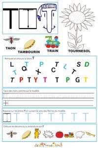 Page de lecture - écriture : la grande lettre T