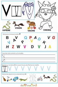 Page de lecture - écriture : la lettre V comme viking