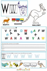 Page de lecture - écriture : la lettre W