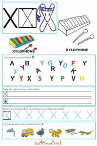 Page de lecture - écriture : la lettre de l'alphabet X