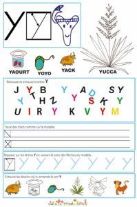 """Page de lecture - écriture : la lettre de l'alphabet """" Y """""""