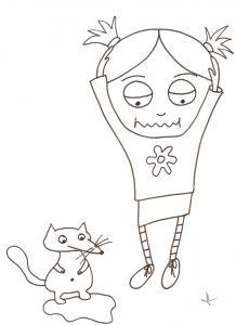 coloriage de Nana et le petit renard qui fait pipi
