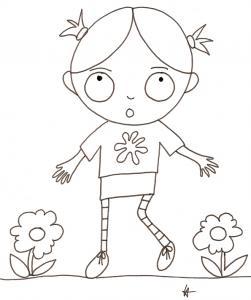 coloriage de Nana étonnée dans les fleurs