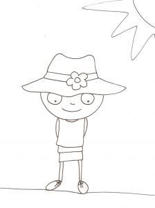 coloriage de Nana sous le soleil avec son chapeau