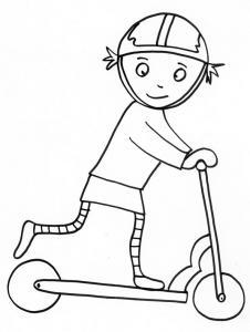 coloriage de fille : Nana et sa patinette