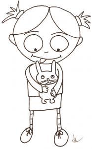 coloriage de Nana et le lapin dans les bras