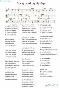 "Paroles Chanson ""Sur le pont de Nantes"""