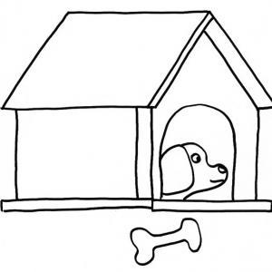 Coloriage d'un chien dans sa niche