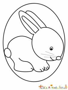 Coloriage du lapin dans son oeuf