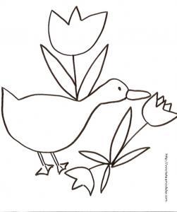Coloriage d'une oie et 3 tulipes