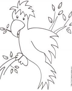 Coloriage d'un gros oiseau dans les branches