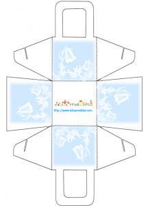 Panier à imprimer modèle fleur blanche sur bleu