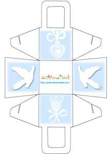 Panier de communion colombe et coeur bleu