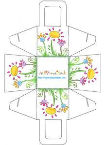 Panier cadeau fleurs vives à imprimer